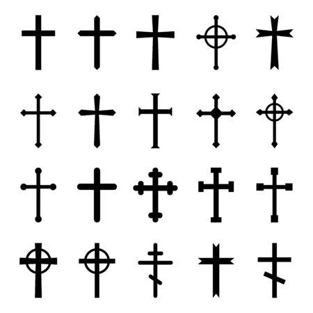 Illustration pour Set of christian crosses. Vector icon on white background. - image libre de droit