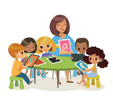 Illustration pour Group of Happy Children and Tiitor with tablets sitting on a desk. School lesson illustration. Preschool lesson.  Contemporary education using the devices. Vector. Isolated. - image libre de droit