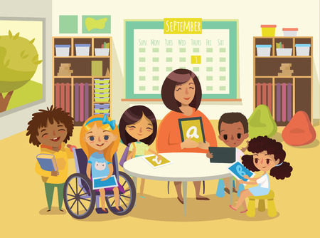Ilustración de Group of Children and Tiitor with tablets in a classroom. School lesson illustration. Education using the devices. Caring for the disabled child. Handicapped Kid. Vector. Isolated. - Imagen libre de derechos