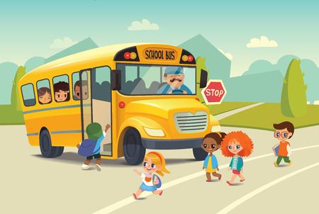 Ilustración de School bus traffic stop law. Back-To-School Safety Concept. Kids riding on school bus. Child boarding school bus. Kids crossing the road. Vector illustration. - Imagen libre de derechos