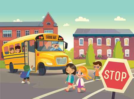 Photo pour Back To School Safety. Illustration depicting School bus stop, Child boarding school bus. Passing a school bus. Kids crossing the road. Vector illustration. - image libre de droit