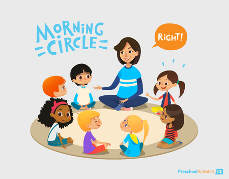 Illustration pour Smiling kindergarten teacher talks to children sitting in circle and asks them questions. Preschool activities and early childhood education concept. Vector illustration for poster, website banner. - image libre de droit