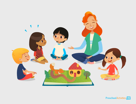 Illustration pour Female teacher tells fairy tales using pop-up book, children sit on floor in circle and listen to her. Preschool activities and early childhood education. Vector illustration for poster, website. - image libre de droit