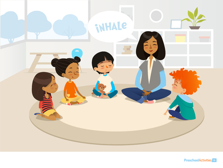 Illustration pour Smiling kindergarten teacher and children sitting in circle and meditating. - image libre de droit