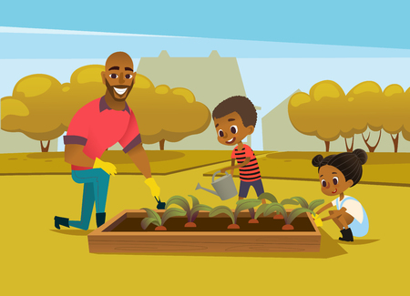 Illustration for Cheerful African American father and two kids dressed in rubber boots cultivate vegetables growing in bed against trees on background. Concept of family activities in garden. Vector illustration. - Royalty Free Image