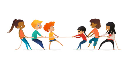 Illustration pour Excited boys and girls pulling rope. Tug of war competition between two children teams. Concept of sports activity for kids. Funny cartoon characters isolated on white background. Vector illustration - image libre de droit