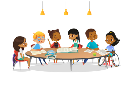 Ilustración de Smiling disabled girl in wheelchair and her school friends sitting around round table, reading books and talk to each other. Concept of inclusive activity. Cartoon vector illustration for banner. - Imagen libre de derechos