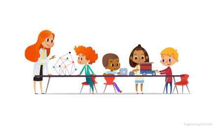 Illustration pour Redhead female teacher and school children standing and sitting around table, building and programming robotic car during engineering lesson. Vector illustration for banner, poster, advertisement - image libre de droit