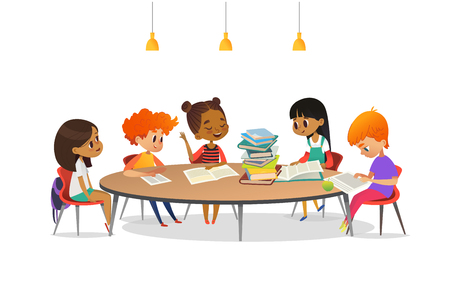 Ilustración de Multiracial children sitting around round table with pile of books on it and listening to girl reading aloud. School literature club. Cute cartoon characters. Vector illustration for banner, poster - Imagen libre de derechos