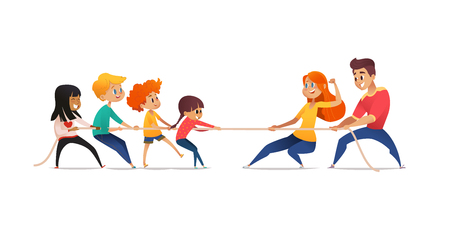 Illustration pour Mom, dad and children pulling opposite ends of rope. Tug of war competition between parents and their kids. Concept of family sports activity, generational conflict. Cartoon vector illustration - image libre de droit