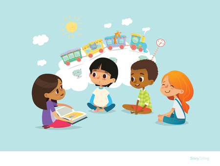 Ilustración de Cute little girl holding book and telling story to her friends, sitting around on floor and imagining animals traveling on train. Smiling children listening to fairy tale. - Imagen libre de derechos