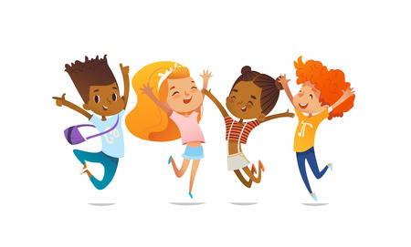 Illustration for Joyous school friends happily jumping with their hands up against purple background. Concept of true friendship and friendly meeting. Vector illustration for website banner, poster, flyer, invitation. - Royalty Free Image