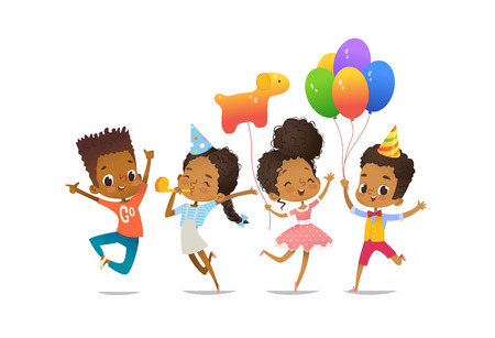 Illustration for Group of African-American happy boys and girls with the balloons and birthday hats - Royalty Free Image