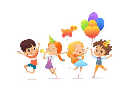 Illustration pour Happy school children with the balloons and birthday hats joyfully jumping - image libre de droit
