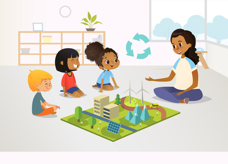 Illustration pour Smiling female kindergarten teacher and children sit on floor and explore toy model with renewable or sustainable energy systems, wind and solar eco friendly power stations. Vector illustration. - image libre de droit