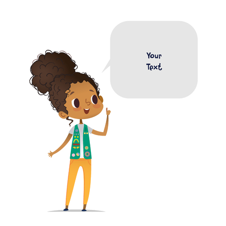 Ilustración de Young smiling African American girl scout dressed in uniform with badges and patches and speech bubble with place for text isolated on white background. Female scouter, member of troop, speaker. - Imagen libre de derechos