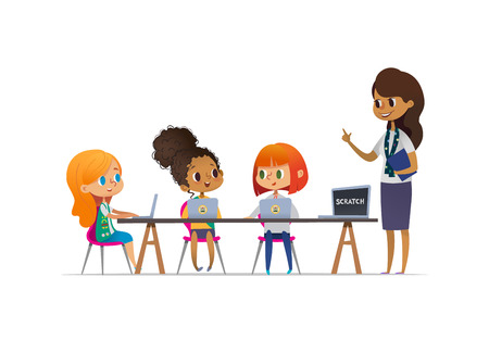 Illustration pour Happy girl scouts sitting at laptops and learning programming during lesson, smiling female troop leader standing near them. Concept of coding for children in scouting camp. Vector illustration. - image libre de droit