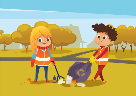 Illustration for Boy andgirl wearing orange vests collect rubbish for recycling at park. Kids gathering plastic bottles and garbage for recycling. Boy throws litter into bin. Early childhood education.Vector illustration. - Royalty Free Image