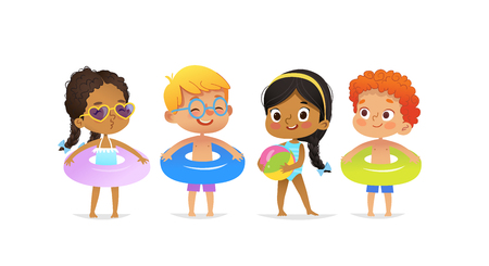 Illustration pour Pool party characters. Multiracial boys and girls wearing swimming suits and rings have fun in pool. African-American Girl standing with ball. Cartoon characters. Vector isolated - image libre de droit