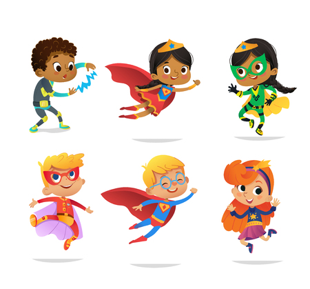 Ilustración de Multiracial Boys and Girls, wearing colorful costumes of various superheroes, isolated on white background. Cartoon vector characters of Kid Superheroes, for party, invitations, web, mascot - Imagen libre de derechos