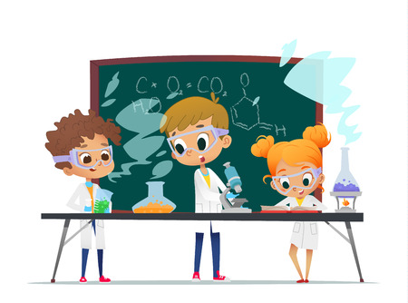 Illustration pour Funny little girl doing experiments in the laboratory. Explosion in the laboratory. Science and education. - image libre de droit