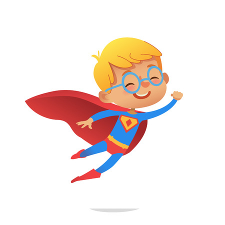 Ilustración de Flying Boy wearing colorful costumes of superheroes, isolated on white background. Cartoon vector characters of Kid Superheroes, for party, invitations, web, mascot - Imagen libre de derechos