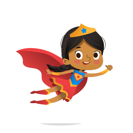 Ilustración de Flying African-American Girl wearing colorful costumes of superheroe, isolated on white background. Cartoon vector characters of Kid Superheroes, for party, invitations, web, mascot - Imagen libre de derechos