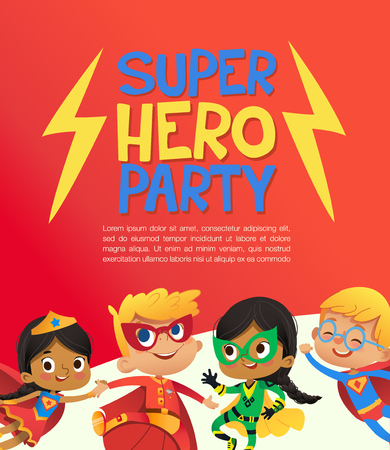 Illustration pour Joyous Multiracial kids in super hero outfit and balloons happily jump. Vector Illustration of a Super Hero Party poster or invitation flyer. - image libre de droit