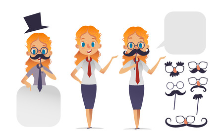 Ilustración de Cute girl character with glasses, various shape mustaches, and hat. Mustache constructor. - Imagen libre de derechos