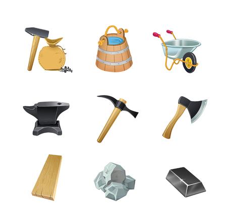 Illustration for Set of the Game construction assets ax, bucket, wheelbarrow garden, anvil, hammer, stone, board, ingot, nails, bag. - Royalty Free Image