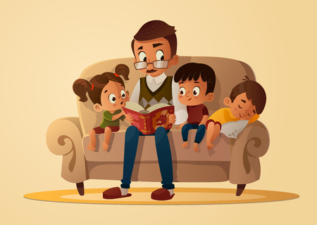Photo for Grandfather sitting with grandchildren on a cozy sofa with the book, reading and telling book fairy tale story. Boys and girl listen to him. Vector cartoon illustration. Cozy family evening. - Royalty Free Image