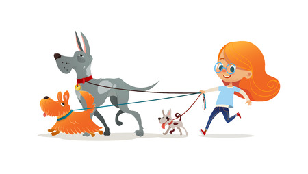 Illustration for Little redhead girl walking three dog on leash. Cute child running with doggies. Adorable kid with red hair and her pets isolated on white background. Flat cartoon colorful vector illustration. - Royalty Free Image