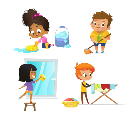 Illustration for Collection of children doing household routines - mopping floor, washing window, hanging clothes on drying rack. Concept of Montessori engaging educational activities. Cartoon vector illustration. - Royalty Free Image