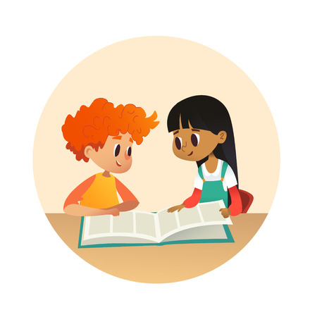Illustration for Boy and girl reading book and talking to each other at school library. School kids discussing story in round frames. Cartoon vector illustration for banner, poster. - Royalty Free Image