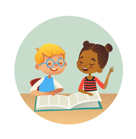 Illustration pour Smiling multiracial boy and girl reading books and talking to each other at school library. School kids discussing literature in round frames. Cartoon vector illustration for banner, poster. - image libre de droit
