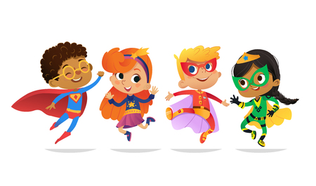 Illustration pour Multiracial Boys and Girls, wearing colorful costumes of superheroes, happy jump. Cartoon vector characters of Kid Superheroes, isolated on white background. for party, invitations, web, mascot. - image libre de droit