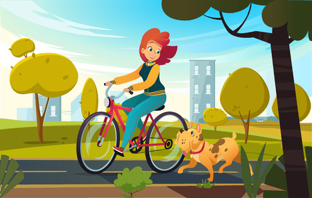 Illustration pour Vector cartoon illustration of young redhead woman riding bicycle in a park and a dog runs near her. Female cartoon character on white background. - image libre de droit