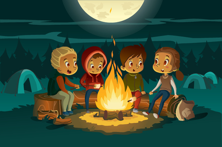 Ilustración de Kids camping in the forest at night near big fire. Children sitting in a cearcle, tell scary stotys and roast marshmallows. Tents in the background. Adventure and exploration concept. Vector - Imagen libre de derechos