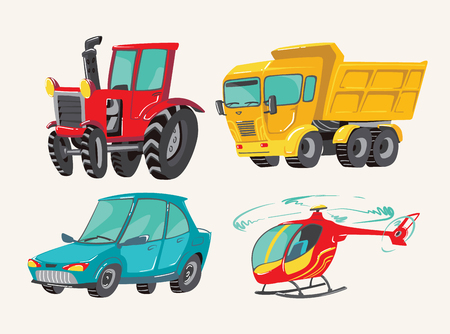 Illustration pour Funny cute hand drawn cartoon vehicles. Baby bright cartoon helicopter, big truck, car, and tractor. Transport child items vector illustration on light background - image libre de droit