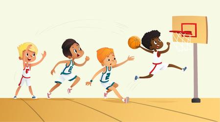 Foto für Vector Illustration Of Kids Playing Basketball. Team Playing Game. Team competition. - Lizenzfreies Bild