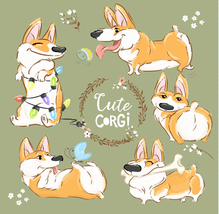 Cute Corgi Dog Character Cartoon Vector Set. Funny Short Fox Pet Group Smile, Play with Ball and Bone. Cheerful Happy Orange Puppy Flat Cartoon Collection for Print Poster