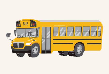 Illustration pour Funny cute hand drawn cartoon School Bus Illustration. Toy Cartoon School Bus. Toy Vehicles for Boys. Vector illustration - image libre de droit