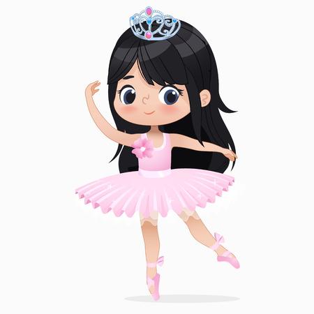 Illustration pour Cute Small Brunette Girl Ballerina Dance Isolated. Caucasian Ballet Dancer Baby Princess Character Jump Motion. Elegant Doll wear Pink Tutu Dress. Beautiful Kid Flat Cartoon Vector Illustration. - image libre de droit