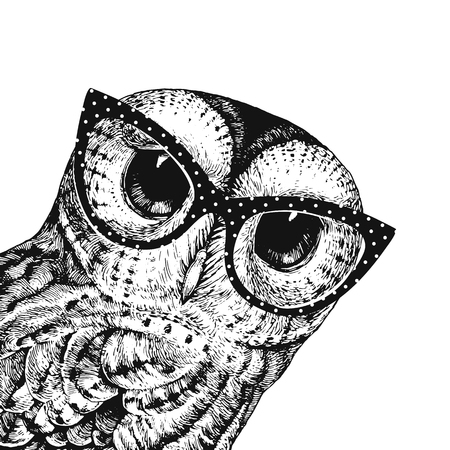 Cute Owl Illustration Wearing Glasses. Vector Illustration of the Baby Owl Black On a White. Can Be Used for t-shirt Print, Kids Wear Fashion Design, Baby Shower Invitation Card