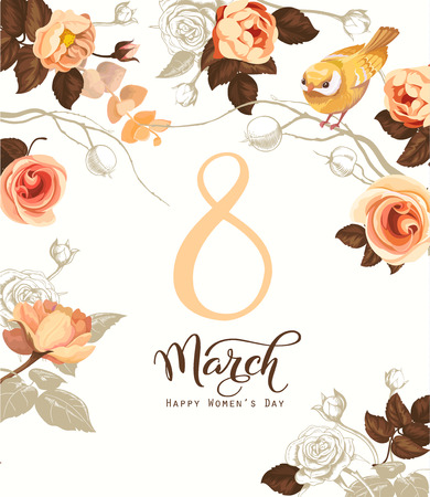 Illustration pour Happy 8 March. Women s day greeting card. Beautiful hand lettering with bunch of spring flowers, leaves and blue bird sitting on it on background. Vector illustration for postcard, invitation, banner - image libre de droit