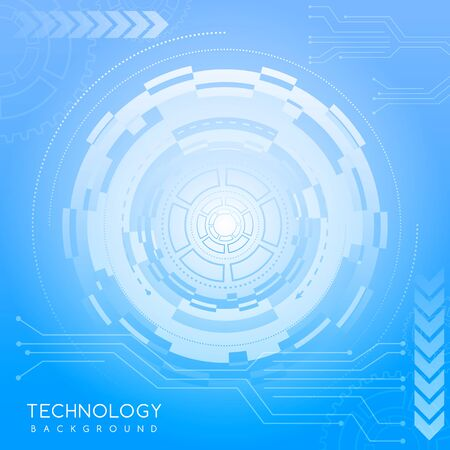 Illustration pour Blue abstract technology background with various technological elements. Innovative concept of high-tech communications. The concept of digital technology and engineering. - image libre de droit