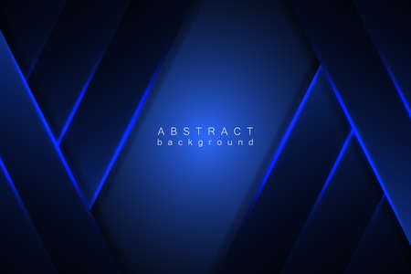 Illustration pour Abstract blue background modern graphic design. Blue geometric shapes, shimmering stripes and lines on a dark gradient. - image libre de droit