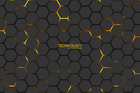 Illustration for Hexagonal tech vector background. Yellow energy flashes under the hexagon in dark modern futuristic illustration. Black mesh honeycomb texture. - Royalty Free Image
