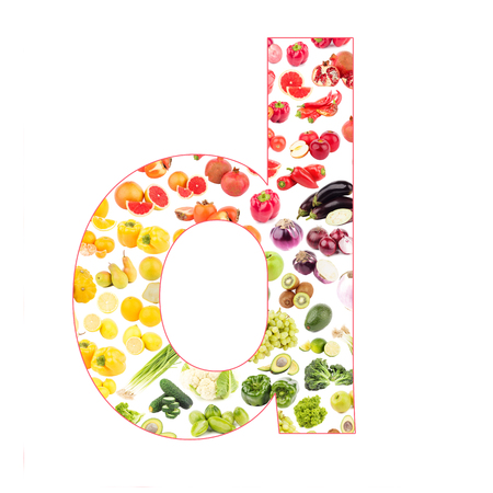 Letter made from fruits and vegetables, isolated on white