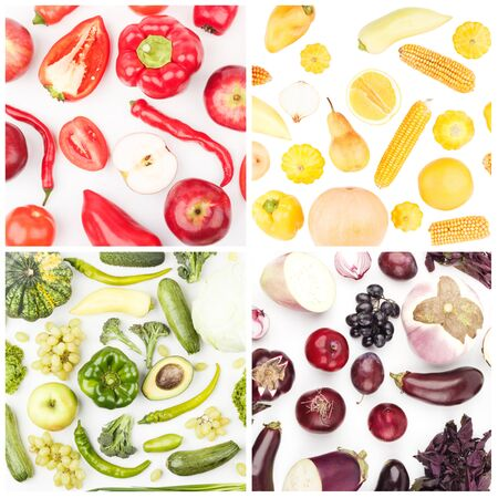 Foto per Squares from different colored fruits and vegetables, isolated, top view - Immagine Royalty Free